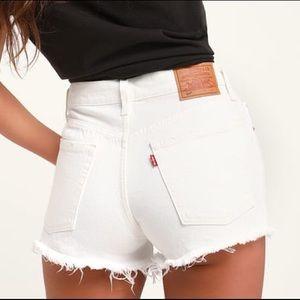 Levi's 501 Distressed White Jean Denim Shorts